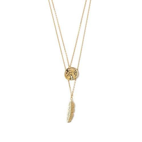 Orelia London Halskjede Coin & Feather