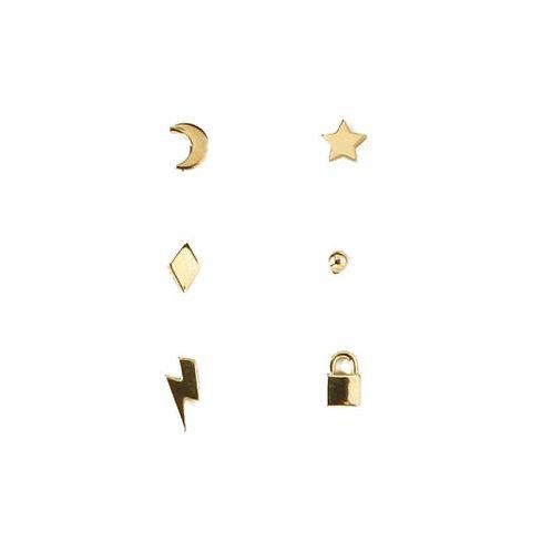 Orelia London Øredobber Mixed Charm Ear Party Gold