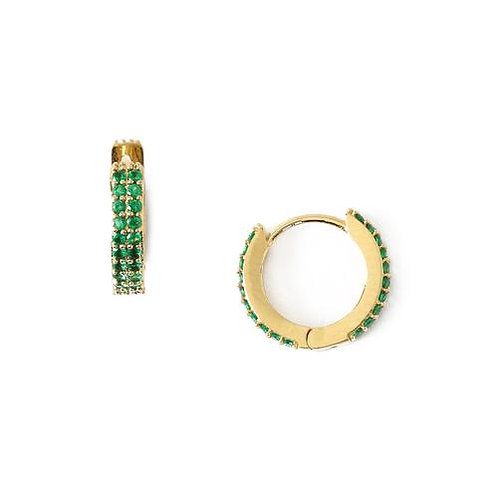 Orelia London Øredobber Chunky Emerald Huggie Hoop Gold