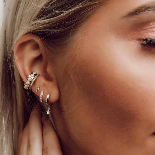 Orelia London Øredobber Lightening & Stars Ear Party Silver