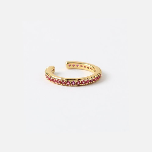 Orelia London Ruby Pave Single Ear Cuff Gold