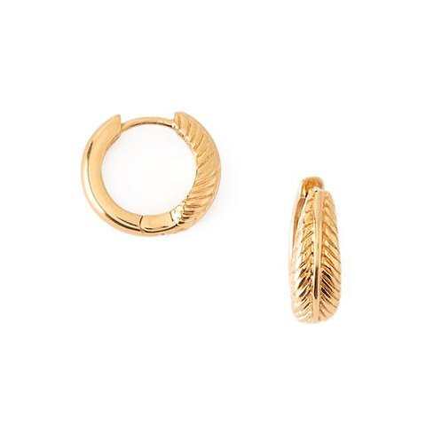 Orelia London Øredobber Feather  Wrap Huggie Hoops Gold
