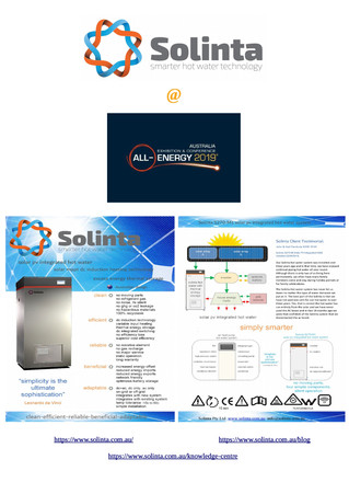 Solinta`s inaugural public debut is on October 23 - 24 at the All-Energy Expo