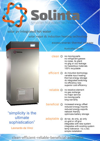 New Solinta v Heat Pump Comparison & features / benefits hand out brochure for the upcoming All