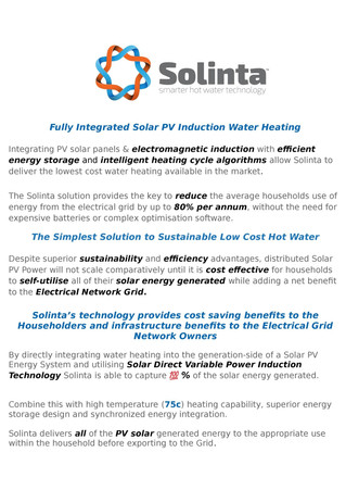 The advantages of smart component integration & placement within  a solar PV hot water system