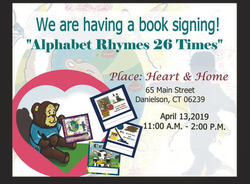 Join us April 13, 2019 for a book signing at Heart & Home 65 Main Street, Danielson CT 11:00 A.M.-2