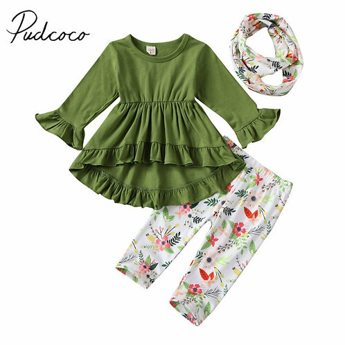 Kids Baby Girl Floral Clothes Top T-Shirt Dress Legging Pant Scarf  3 pieces