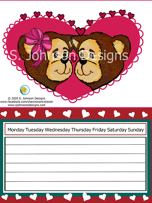 "Valentine Bears ""Love Always"" Calendar 8.5 x 11 Digital Download"