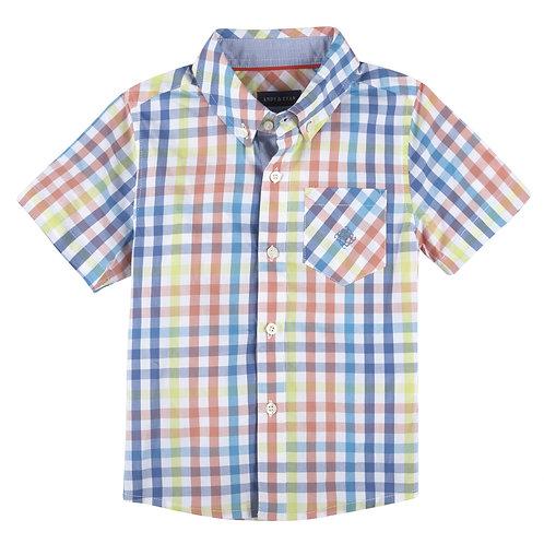 Multi Gingham Short Sleeve Button-Down Shirt