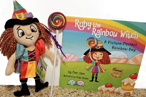 "Gift Set ""Ruby The Rainbow Witch"" Children's Book & Ruby Doll (Plush Toy)"