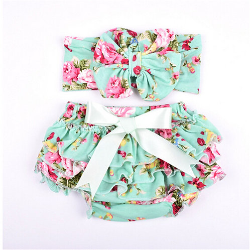 Floral Baby Bloomers Diaper Covers Lace Shorts Ruffle Panties