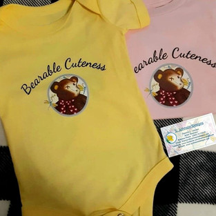 Bearable Cuteness Design on Baby One Piece outfits.