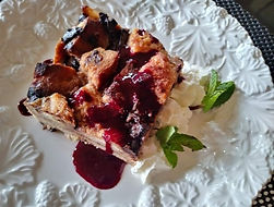 Chocolate Raisin Panettone Bread Pudding with Berry Coulis