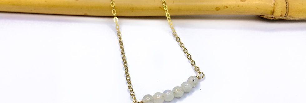 White Moonstone Bars Necklace