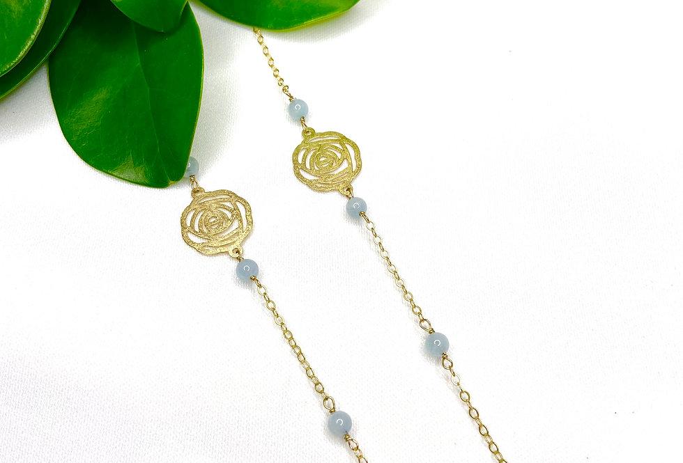 Aquamarine Rose Necklace