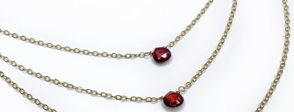 Garnet 3 Layered Necklace
