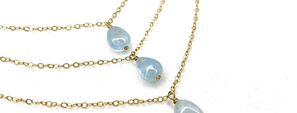 Aquamarine 3 Layered Necklace