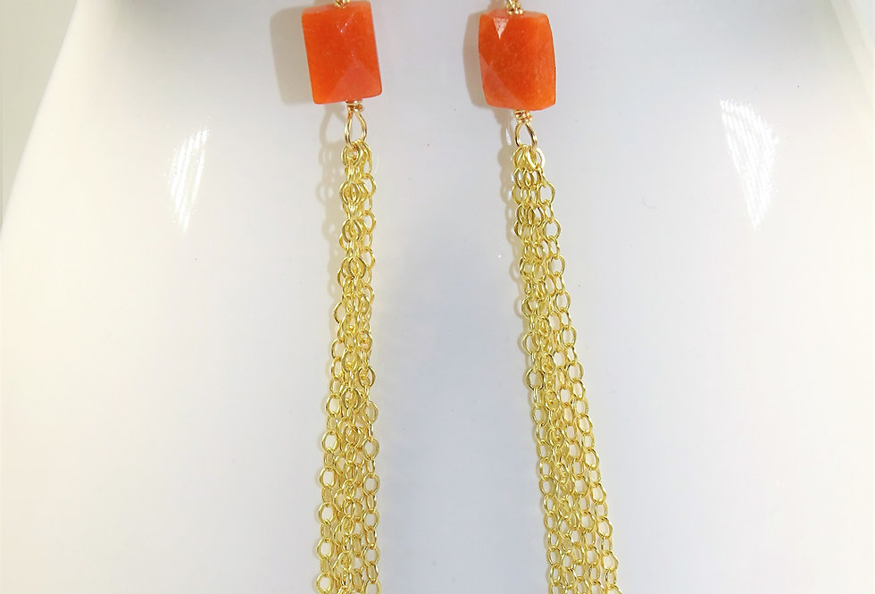 Carnelian Fringe Earrings