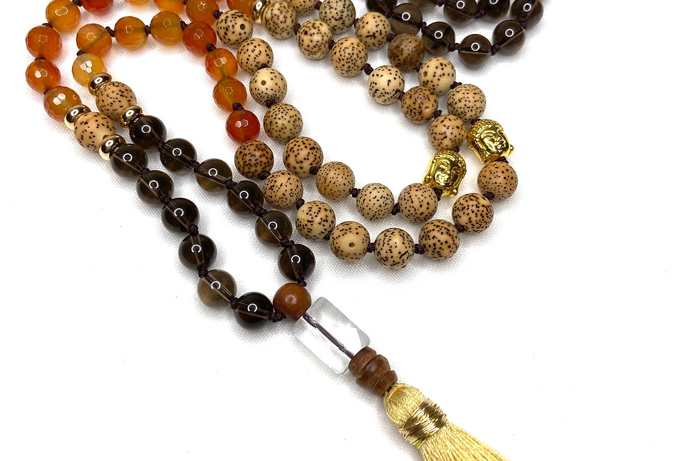 Smoky Quartz Mala Necklace