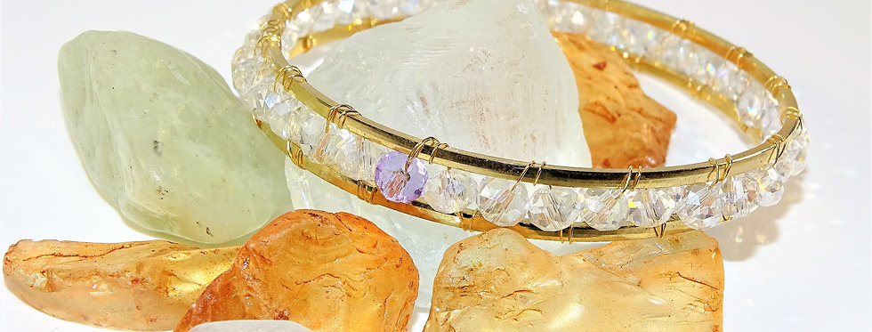 Double Wrapped Bangles - Clear Crystals