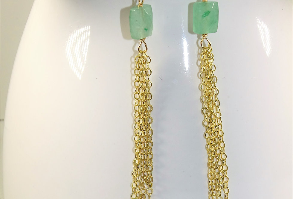 Aventurine Fringe Earrings