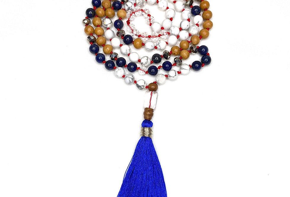 Lapis Lazuli & White Howlite Mala Necklace
