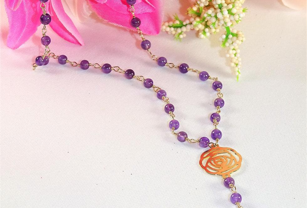 Amethyst Lariat Necklace