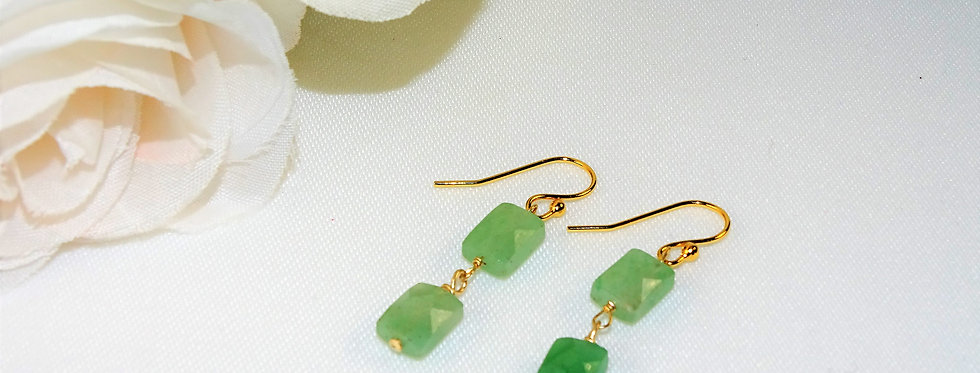 Aventurine Petite Gems 2 Link Earrings