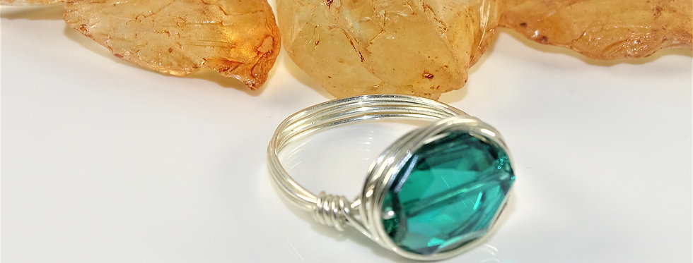 Teal Crystal Nesting Ring