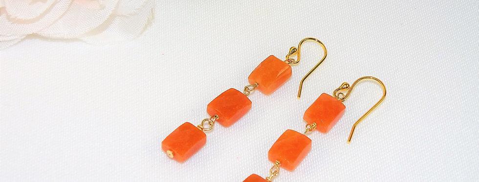 Carnelian Petite Gems 3 Link Earrings