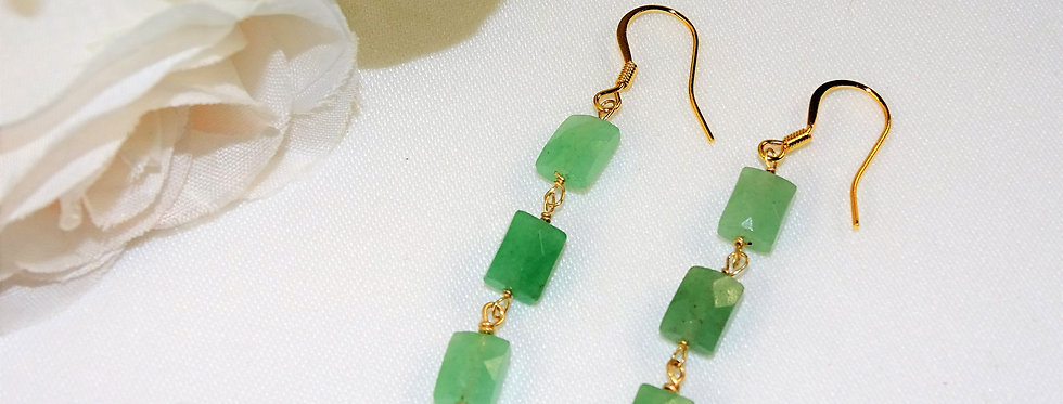 Aventurine Petite Gems 3 Link Earrings