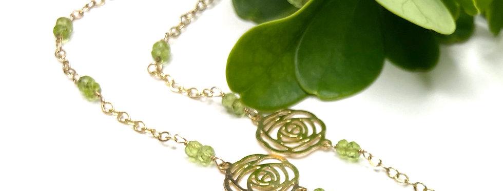 Peridot Rose Necklace