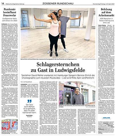 MAZ ZossenerRundschau 01.04.2021 Tanzschule Dance & More Bernice Ehrlich