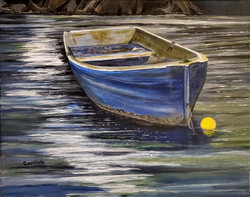 Moored Boat in the Moonlight