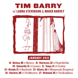 Southeast Shows Added in January with Tim Barry & Laura Stevenson.