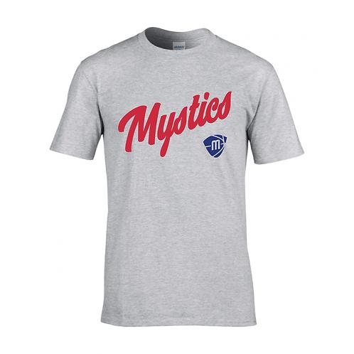 Manchester Mystics Script & Logo Sport Grey T-shirt - Red & Royal Blue