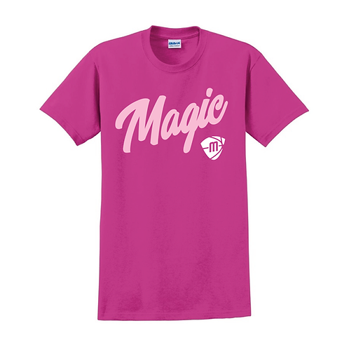 Manchester Magic Script & Logo Heliconia Pink T-shirt 1