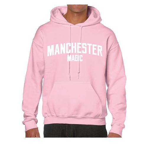 Manchester Magic Light Pink Hoody - White print