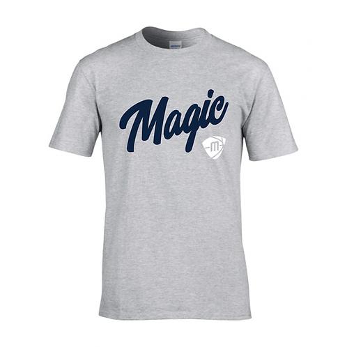 Manchester Magic Script & Logo Sport Grey T-shirt - Navy & White