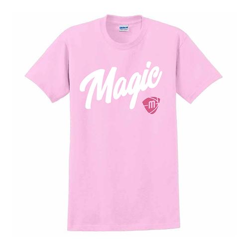 Manchester Magic Script & Logo Light Pink T-shirt 2