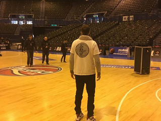 Glasgow Rocks star Hayden Lescault reppin Hoop Freakz t-shirt at BBL Cup Final