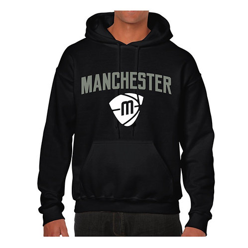 Manchester Magic & Mystics Text and Logo Black Hoody -Grey & White