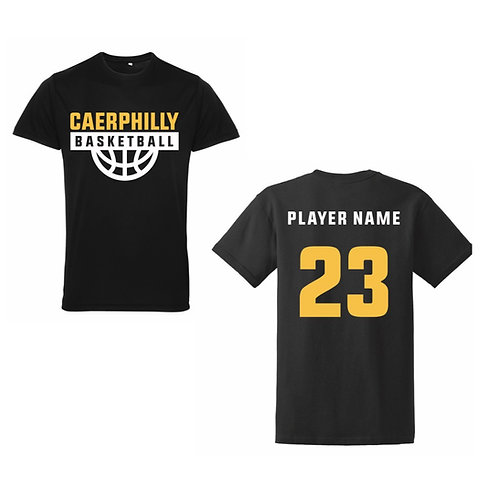 Caerphilly Cobras Black Tri-dri polyester T-shirt Design 1
