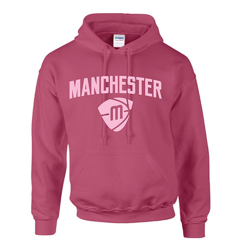 Manchester Magic & Mystics Text and Logo Heliconia Pink Hoody - Pink print