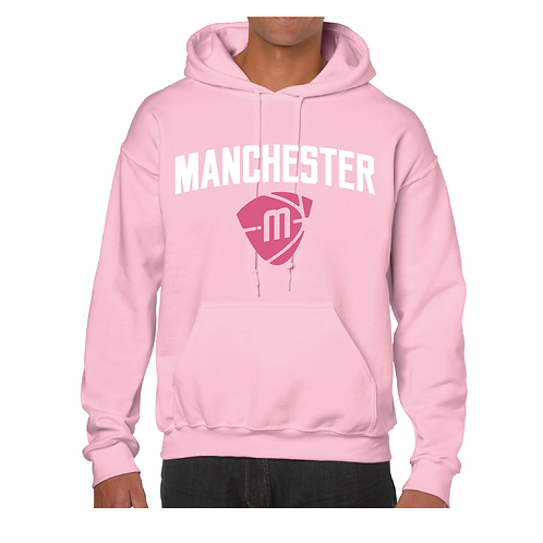 Manchester Magic & Mystics Text and Logo Light Pink Hoody - White & Pink print