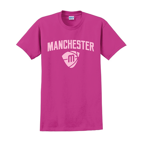 Manchester Magic & Mystics Text and Logo Heliconia Pink T-shirt 1
