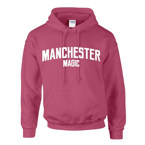 Manchester Magic Heliconia Pink Hoody - White print