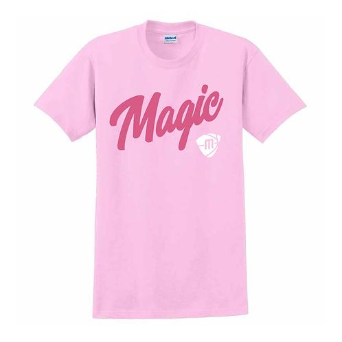 Manchester Magic Script & Logo Light Pink T-shirt 1