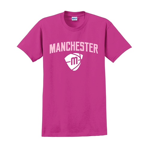 Manchester Magic & Mystics Text and Logo Heliconia Pink T-shirt 2
