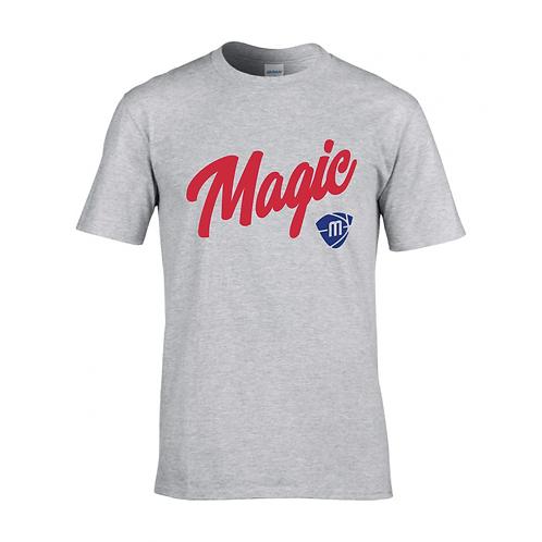 Manchester Magic Script & Logo Sport Grey T-shirt - Red & Royal Blue